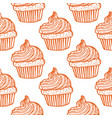 seamless pattern with cupcakes in hand-drawn vector image