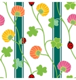 Seamless pattern with green clover shamrock vector image