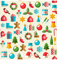 Seamless Winter Pattern with Christmas Flat Icons vector image