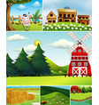 set different farm scenes cartoon style vector image vector image