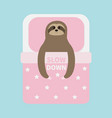 sloth sleeping slow down cant sleep going to bed vector image vector image