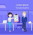 successful business woman showing businessman boss vector image vector image
