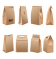 takeaway paper bags set on white vector image