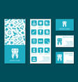 template flyer and business cards for dental vector image vector image