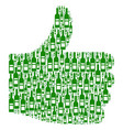 thumb up collage of wine bottles vector image vector image