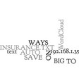ways to save big on auto insurance text word vector image vector image