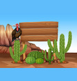 wooden sign with cactus and vulture vector image