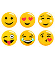yellow emoji faces set isolated on white vector image