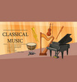 classical music banner horizontal cartoon style vector image