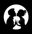 silhouette of loving couple on background of moon vector image