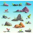 Set of isolated stones boulders vector image