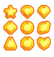 a set of yellow emblems of precious stones vector image