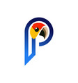 abstract parrot letter p logo icon vector image vector image
