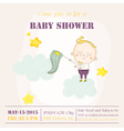 Baby Boy Catching Stars on a Cloud - Baby Shower vector image