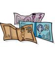 banknotes currency cartoon vector image vector image