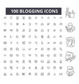 blogging editable line icons 100 set vector image vector image