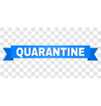 blue stripe with quarantine text vector image vector image