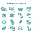 Business and startup blue fill icons set vector image vector image