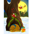 christmas in forest vector image vector image