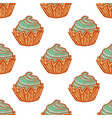 colored seamless pattern with cupcakes in hand vector image vector image