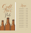 craft beer pub menu with bottles and price list vector image vector image