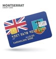 Credit card with Montserrat flag background for vector image vector image