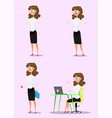 cute set - set of businesswoman character vector image vector image