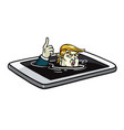 donald trump drowning in mobile phone cartoon vector image vector image