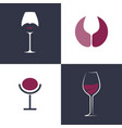 elegance wineglass flat style logo concept vector image