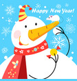 festive greeting card with a big snowman and a vector image vector image