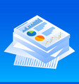 finance graph paper icon isometric style vector image