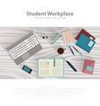 flat design student workspace on wooden table vector image vector image