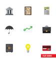 flat icon incoming set of portfolio parasol bubl vector image vector image