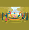 friends jumping on trampoline flat vector image vector image