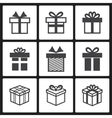 Gift box black icons vector image