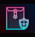 glowing neon line envelope with shield icon vector image vector image