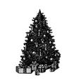 hand drawn ink pen Christmas tree vector image vector image