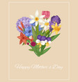happy mother day floral heart with summer flower vector image