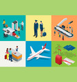 isometric airport travel and transport icons vector image vector image