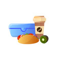 lunch box with healthy food burger kiwi fruit vector image vector image