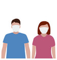 man and woman in a protective mask against viruses vector image