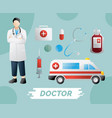 medical instruments first aid kit and medicine vector image