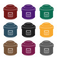 multicooker icon in black style isolated on white vector image