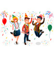 new year bash people celebrating party vector image vector image