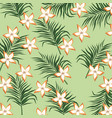 plumeria flower tropical leaves seamless pattern vector image
