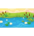 Pond With Reeds And Lilies vector image vector image