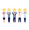 rating concept characters holding gold five stars vector image