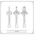 Rounded Fantasy Sword Lineart vector image vector image
