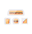 sandwich snacks and toasts in package set vector image vector image