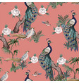 seamless pattern in chinoiserie style with storks vector image